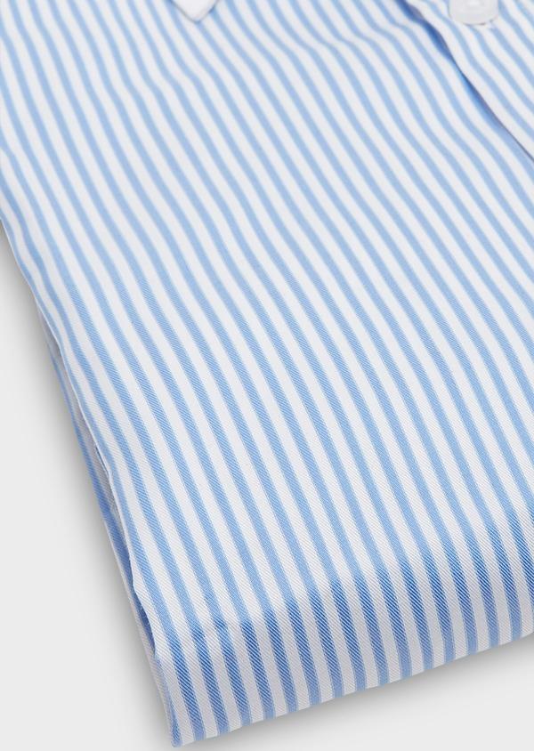 Chemise habillée Slim en popeline de coton à rayures bleu azur - Father and Sons 26078