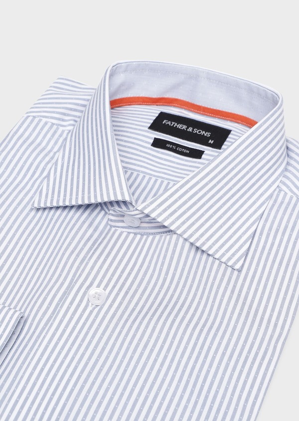 Chemise habillée Slim en popeline de coton bleu gris à rayures - Father and Sons 32279