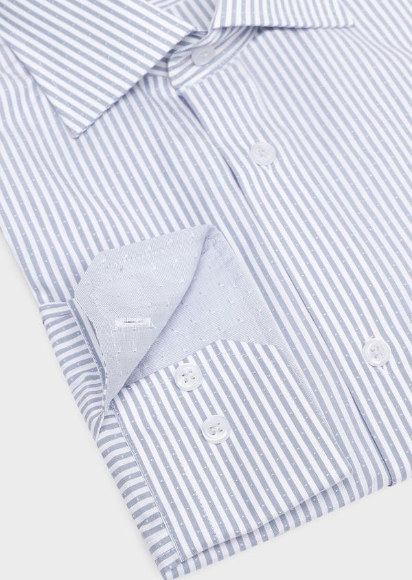 Chemise habillée Slim en popeline de coton bleu gris à rayures - Father and Sons 32281