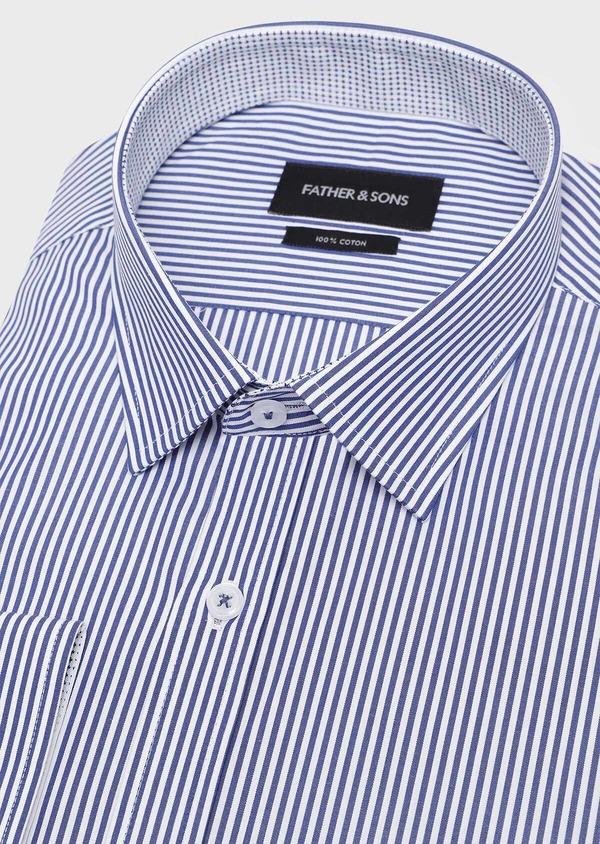 Chemise habillée Slim en popeline de coton à rayures bleues - Father and Sons 32300