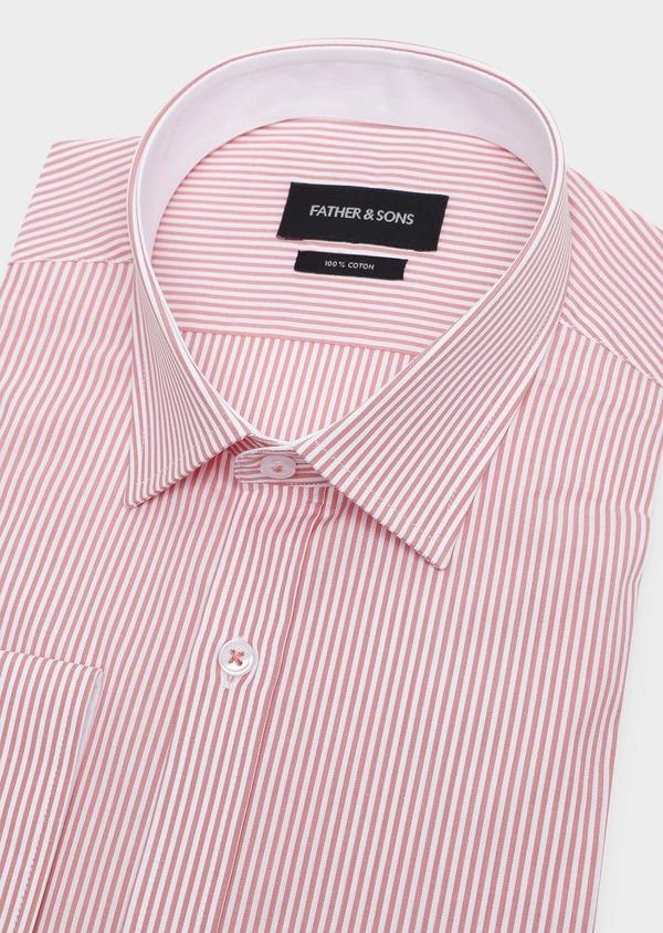 Chemise habillée Slim en popeline de coton à rayures rose foncé - Father and Sons 32292