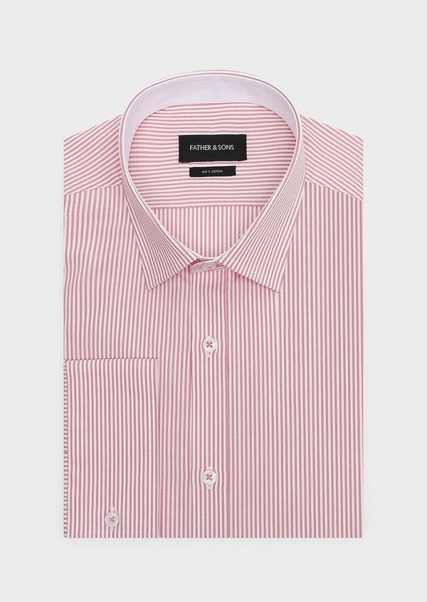Chemise habillée Slim en popeline de coton à rayures rose foncé - Father and Sons 32290