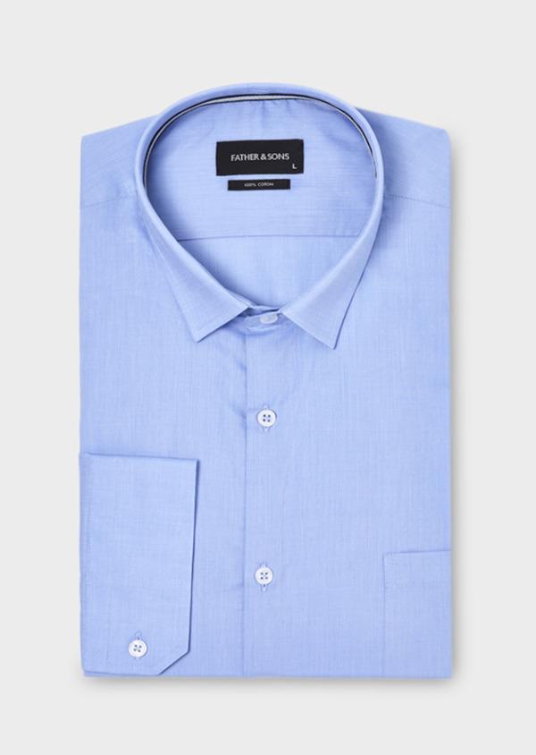 Chemise habillée Slim en popeline de coton unie bleue - Father and Sons 18398