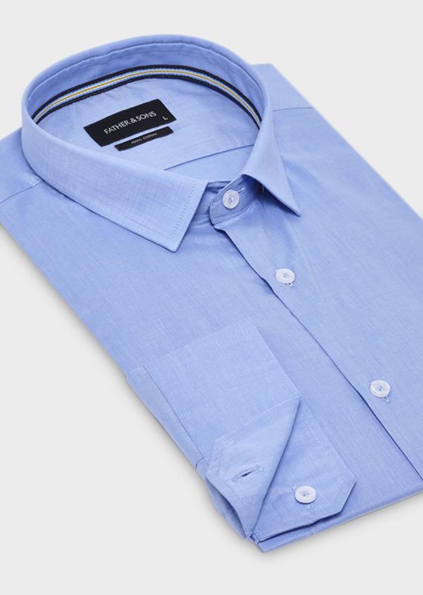 Chemise habillée Slim en popeline de coton unie bleue - Father and Sons 18399