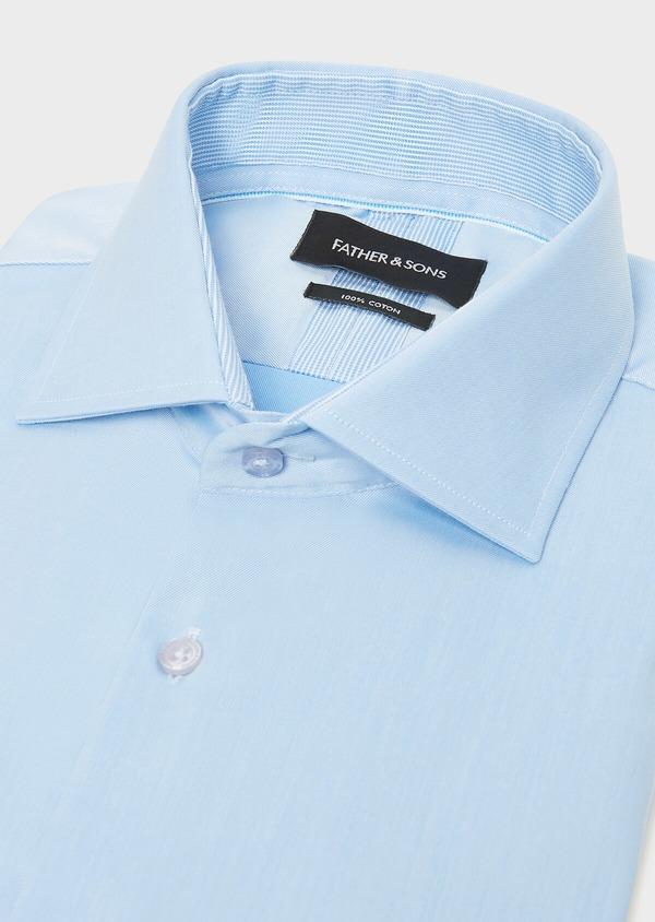 Chemise habillée Slim en twill de coton uni bleu ciel - Father and Sons 32460