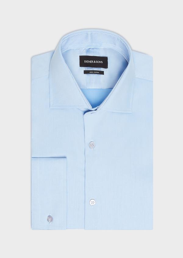 Chemise habillée Slim en twill de coton uni bleu ciel - Father and Sons 32458