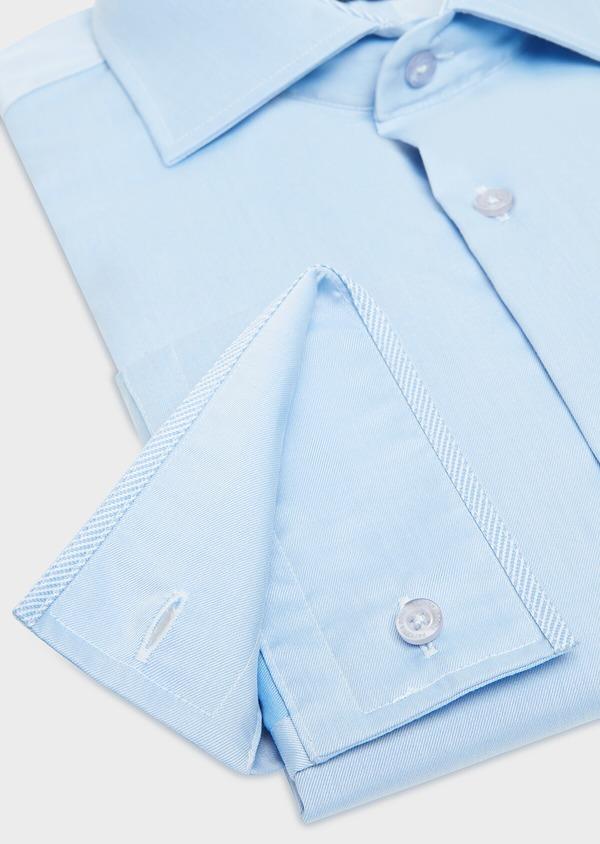 Chemise habillée Slim en twill de coton uni bleu ciel - Father and Sons 32461