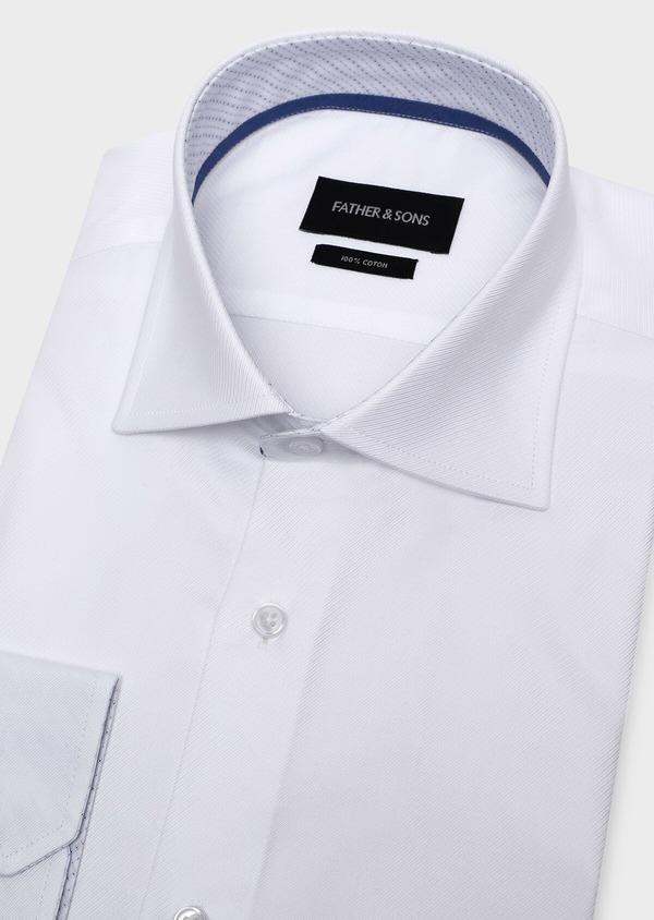 Chemise habillée Slim en coton façonné uni blanc - Father and Sons 32308