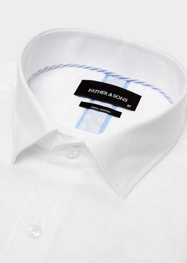 Chemise habillée Slim en satin blanc uni - Father and Sons 26136