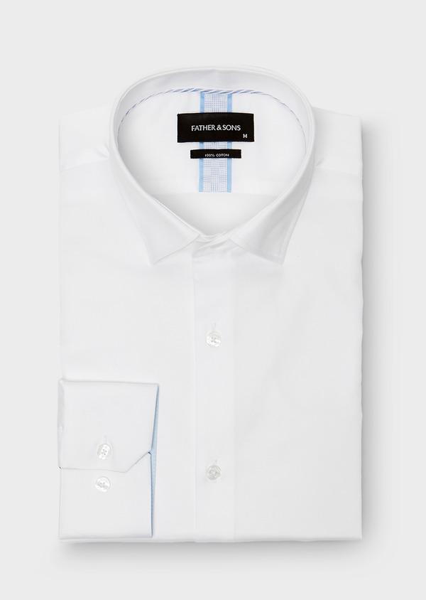 Chemise habillée Slim en satin blanc uni - Father and Sons 26134