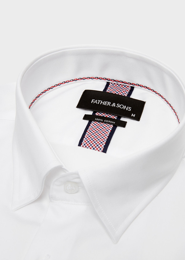 Chemise habillée Slim en popeline de coton uni blanc - Father and Sons 26162