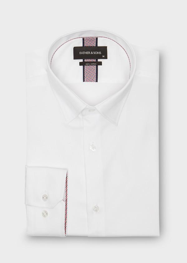 Chemise habillée Slim en popeline de coton uni blanc - Father and Sons 26160