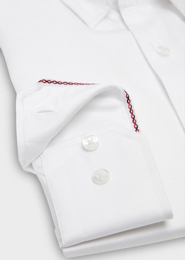 Chemise habillée Slim en popeline de coton uni blanc - Father and Sons 26163