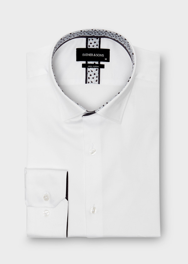 Chemise habillée Slim en satin blanc uni - Father and Sons 26167