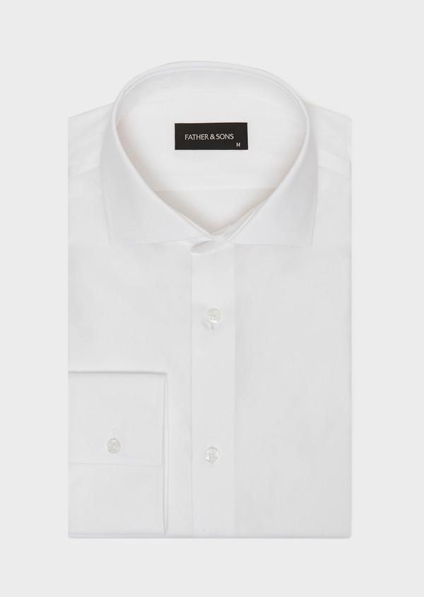 Chemise habillée non-iron Slim en popeline de coton uni blanc - Father and Sons 36529