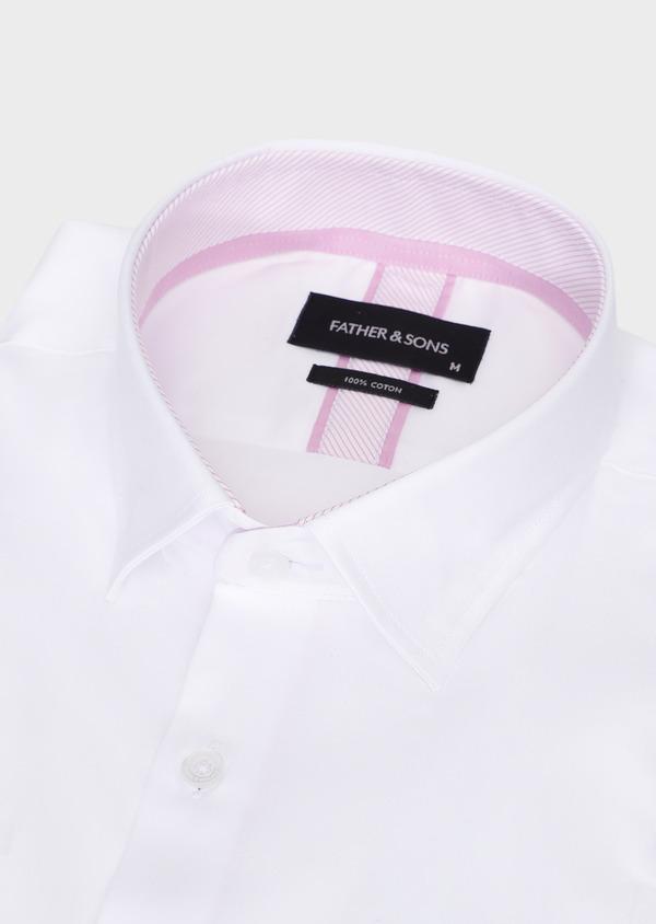 Chemise habillée Slim en popeline de coton uni blanc - Father and Sons 28616