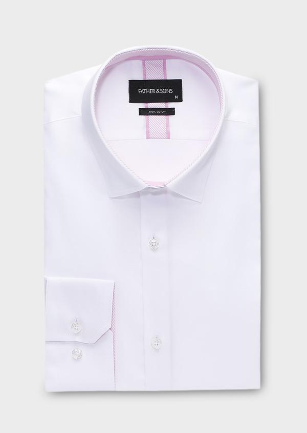 Chemise habillée Slim en popeline de coton uni blanc - Father and Sons 28614