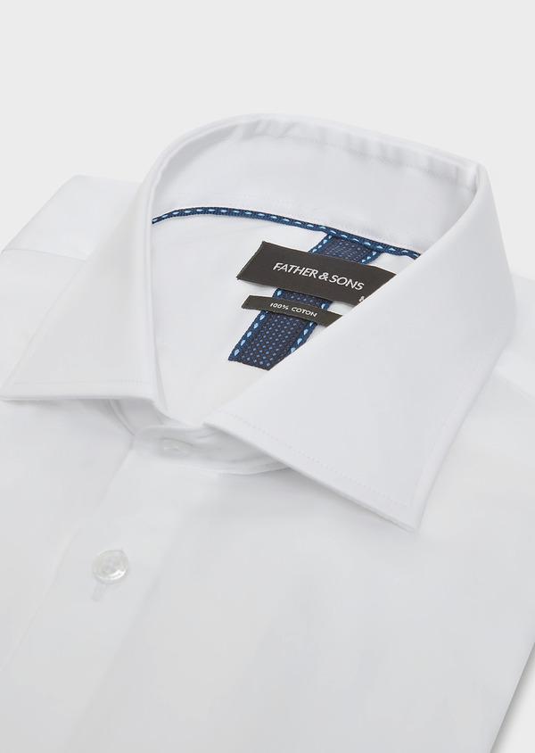 Chemise habillée Slim en satin de coton uni blanc - Father and Sons 32340