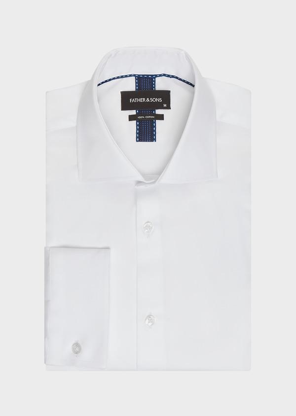 Chemise habillée Slim en satin de coton uni blanc - Father and Sons 32338