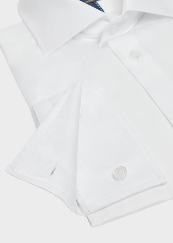 Chemise habillée Slim en satin de coton uni blanc - Father and Sons 32341