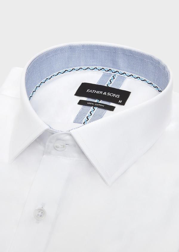 Chemise habillée Slim unie en satin de coton blanc - Father and Sons 32348