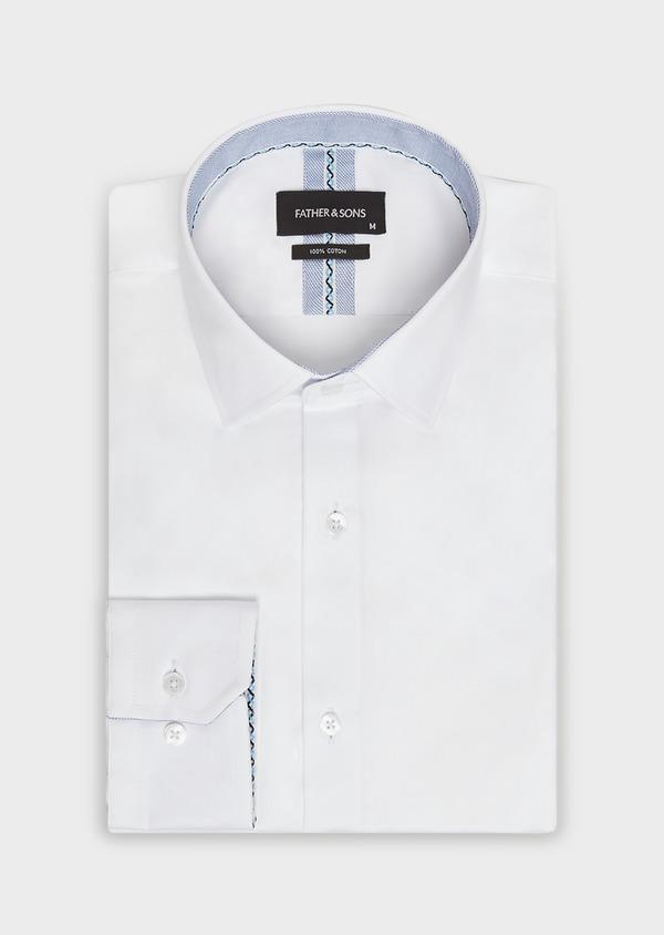 Chemise habillée Slim unie en satin de coton blanc - Father and Sons 32346