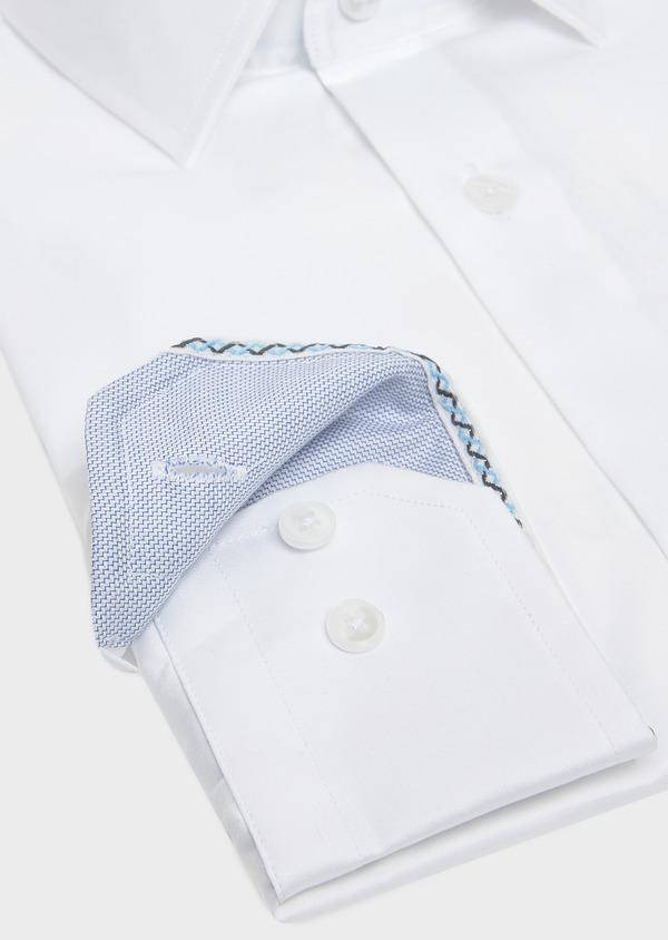 Chemise habillée Slim unie en satin de coton blanc - Father and Sons 32349
