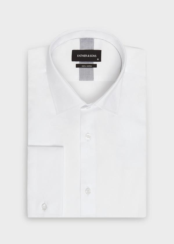 Chemise habillée Slim en satin de coton uni blanc - Father and Sons 32370