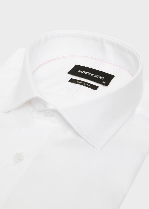 Chemise habillée Slim en satin de coton uni blanc à poignets mousquetaires - Father and Sons 32388