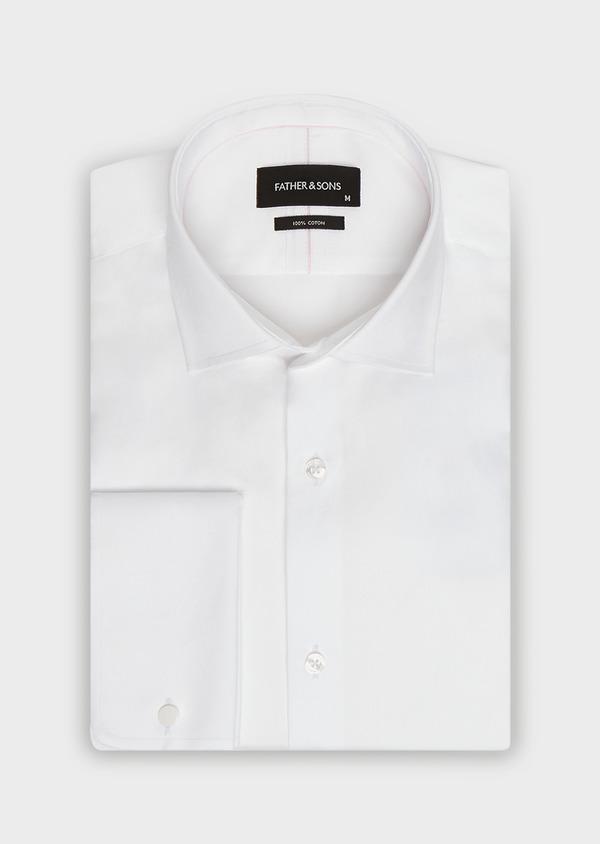 Chemise habillée Slim en satin de coton uni blanc à poignets mousquetaires - Father and Sons 32386
