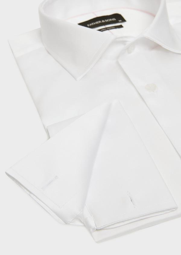 Chemise habillée Slim en satin de coton uni blanc à poignets mousquetaires - Father and Sons 32389