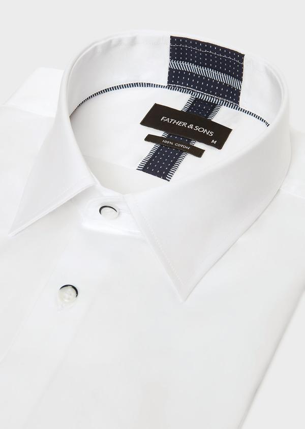 Chemise habillée Slim en satin de coton uni blanc - Father and Sons 32424