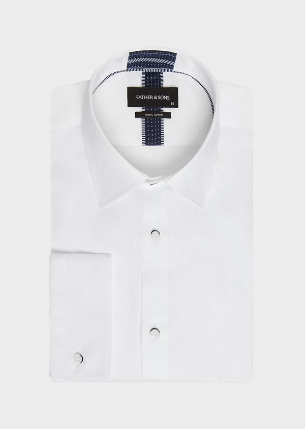 Chemise habillée Slim en satin de coton uni blanc - Father and Sons 32422
