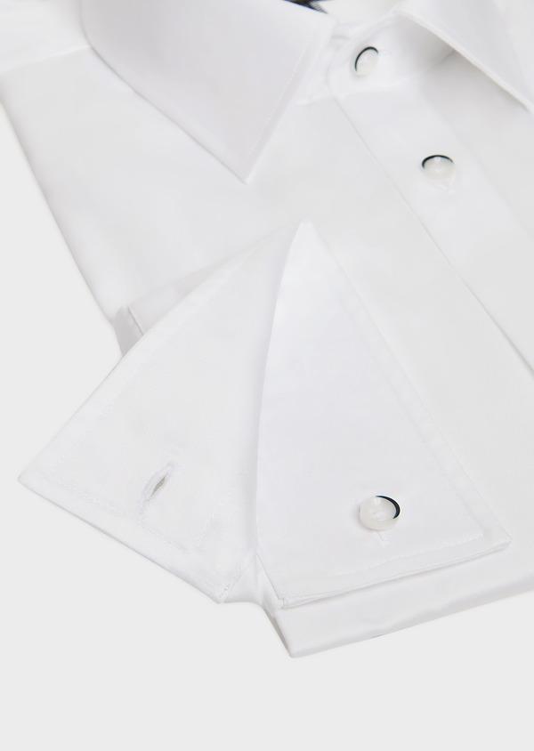 Chemise habillée Slim en satin de coton uni blanc - Father and Sons 32425