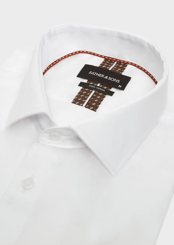 Chemise habillée Slim en satin de coton uni blanc - Father and Sons 32428