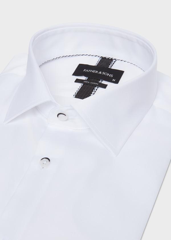 Chemise habillée Slim en satin de coton uni blanc - Father and Sons 32448
