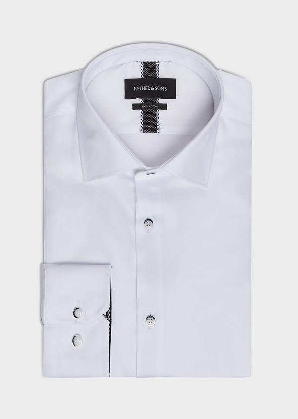 Chemise habillée Slim en satin de coton uni blanc - Father and Sons 32446