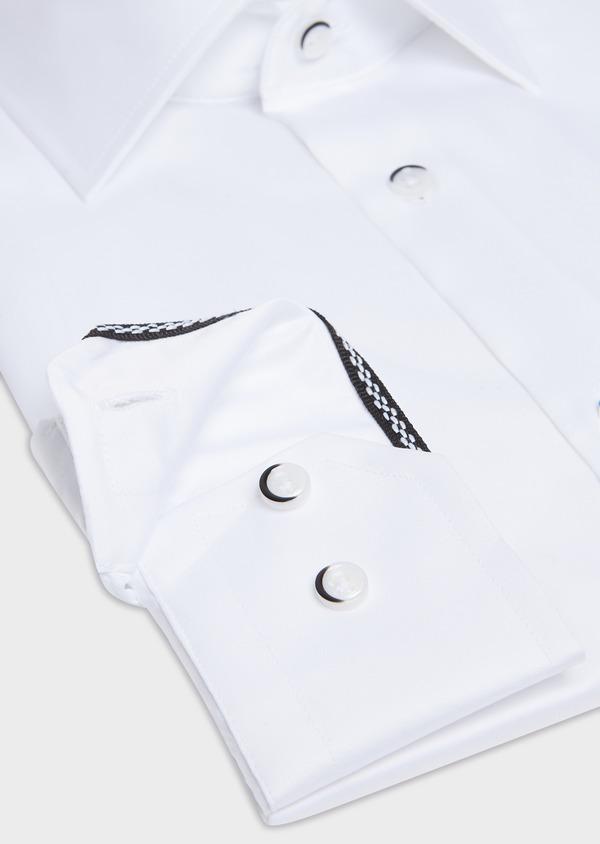 Chemise habillée Slim en satin de coton uni blanc - Father and Sons 32449