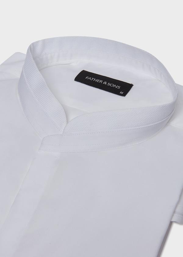 Chemise habillée Slim en popeline de coton stretch uni blanc à col officier - Father and Sons 32468