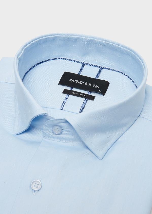 Chemise habillée Slim en coton Oxford bleu ciel uni - Father and Sons 26183
