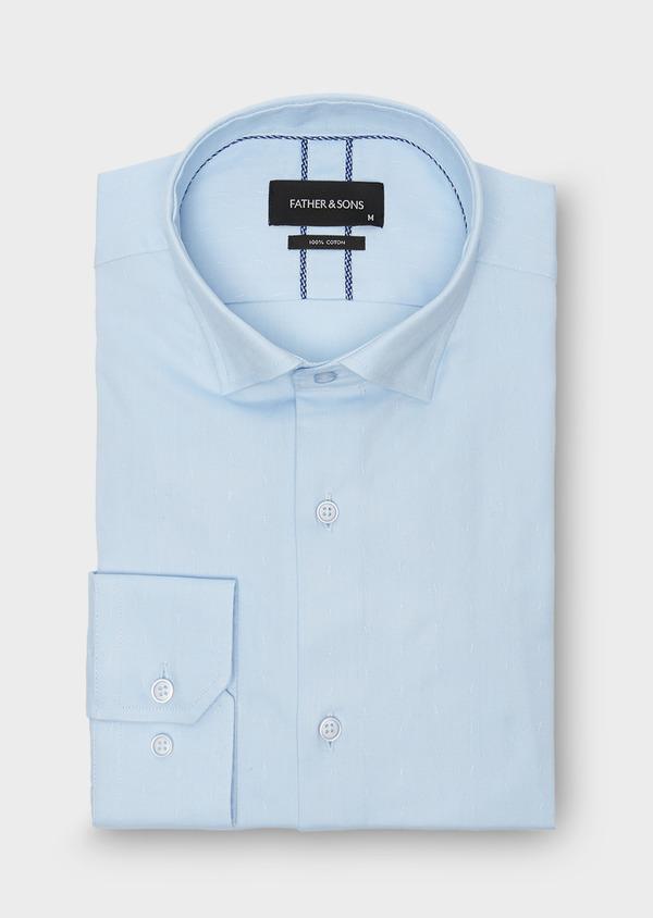 Chemise habillée Slim en coton Oxford bleu ciel uni - Father and Sons 26181