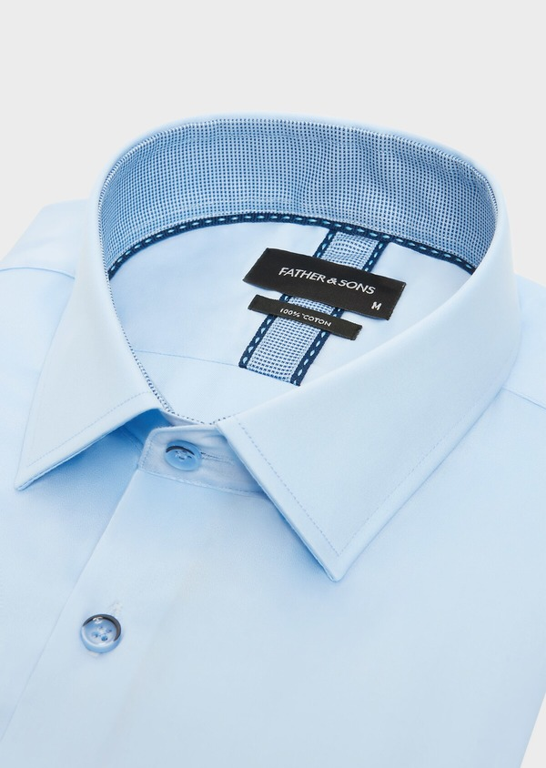 Chemise habillée Slim en satin de coton uni bleu ciel - Father and Sons 32344