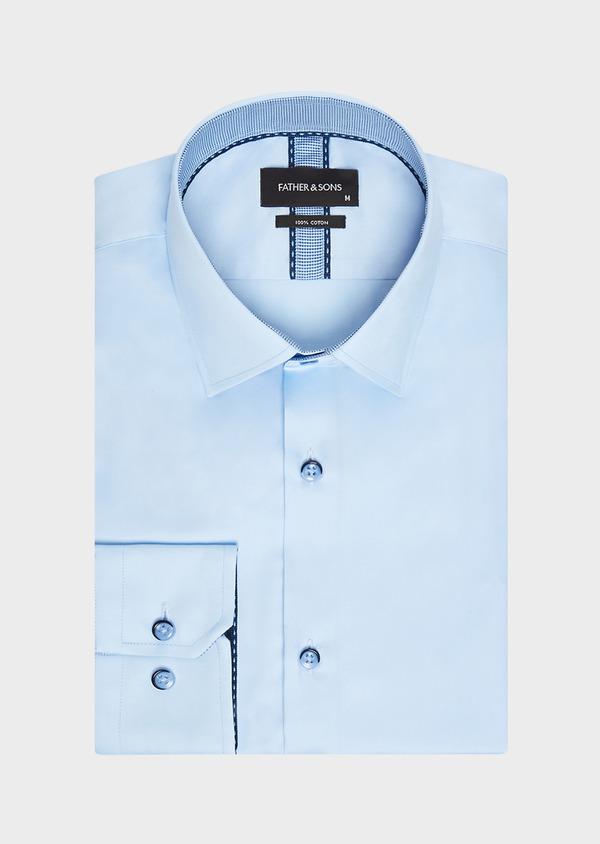 Chemise habillée Slim en satin de coton uni bleu ciel - Father and Sons 32342