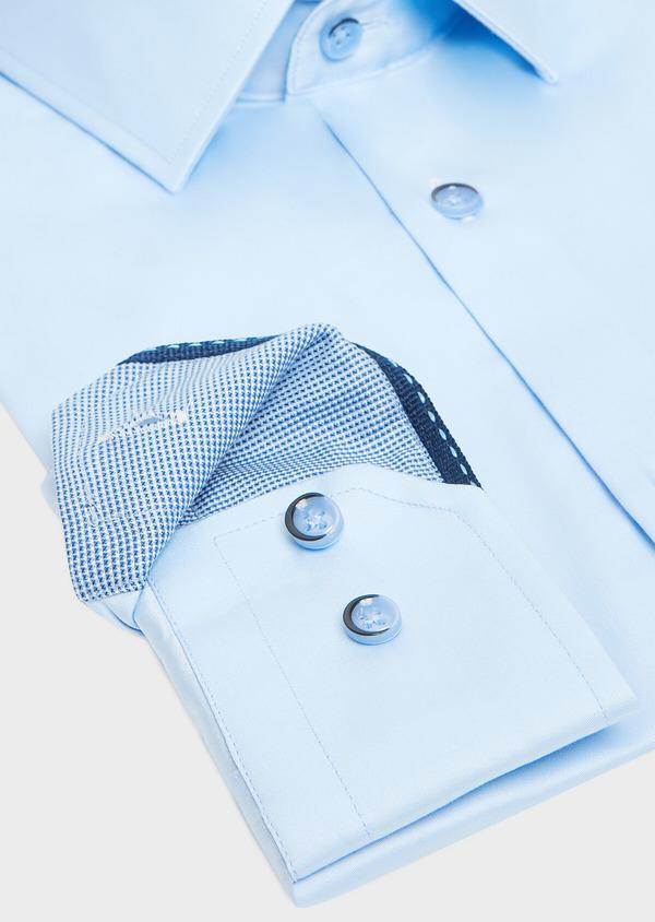 Chemise habillée Slim en satin de coton uni bleu ciel - Father and Sons 32345
