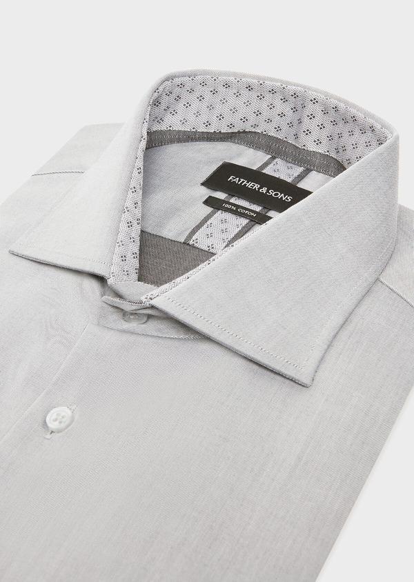 Chemise habillée Slim en twill de coton uni gris - Father and Sons 32368