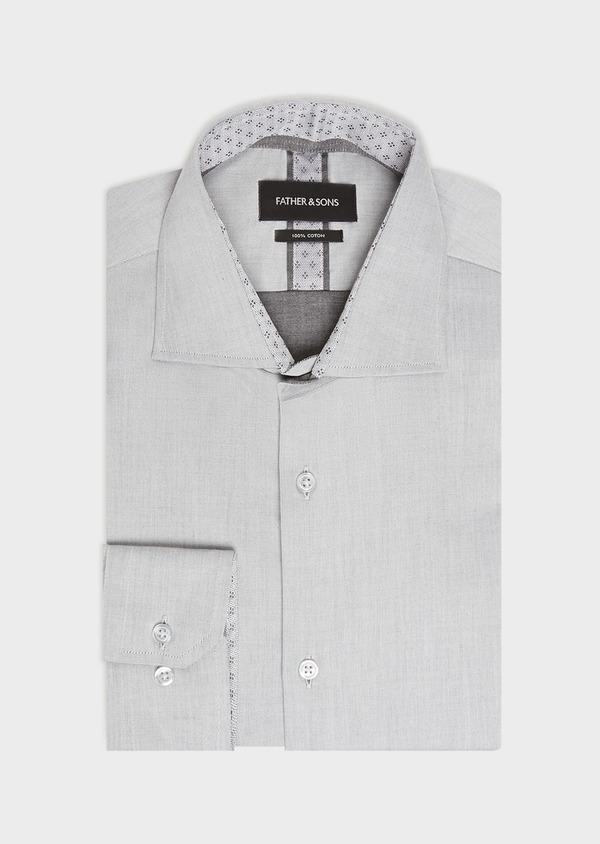 Chemise habillée Slim en twill de coton uni gris - Father and Sons 32366
