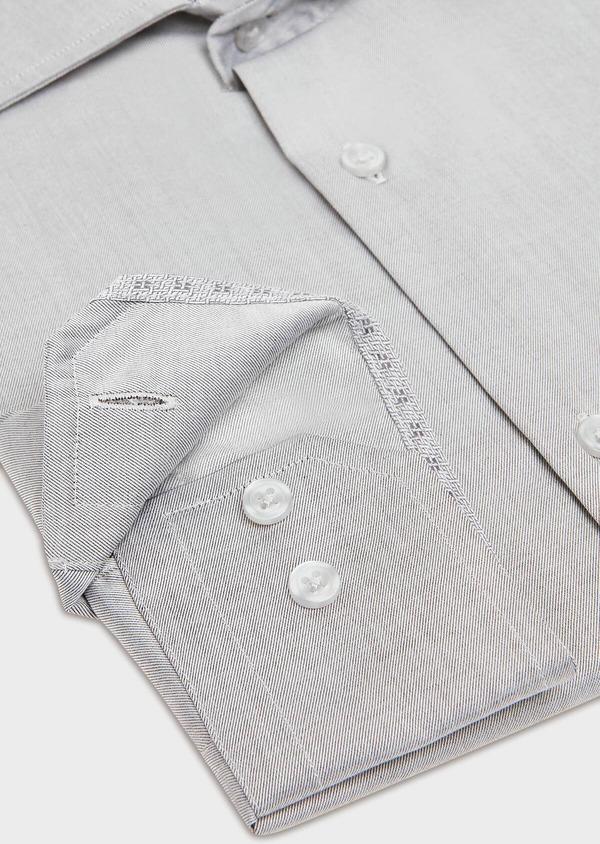 Chemise habillée Slim en twill de coton uni gris - Father and Sons 32369