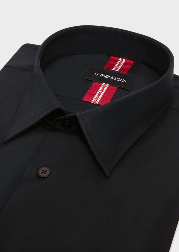 Chemise habillée Slim en satin de coton stretch uni noir - Father and Sons 32464