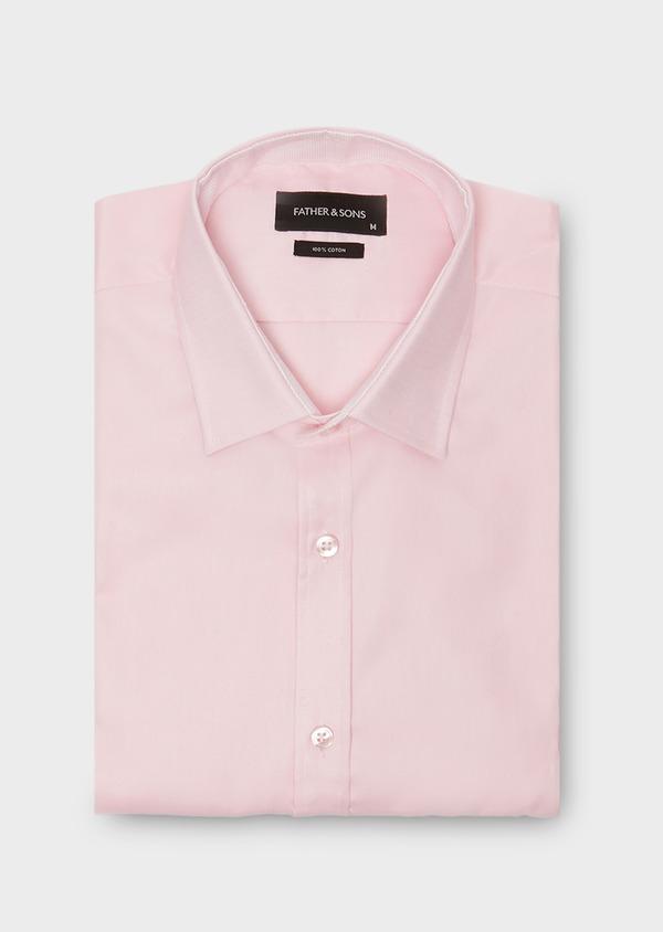 Chemise habillée Slim en coton Oxford uni rose - Father and Sons 26049