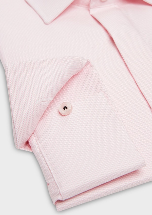 Chemise habillée Slim en coton façonné rose à motif fantaisie blanc - Father and Sons 26059